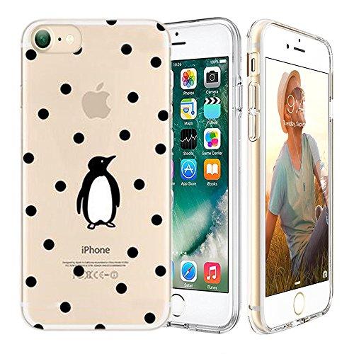 iPhone 7 Custodia,Apple iPhone 7 (4.7 inch) Custodia,Richoose iPhone 7 TPU [Slim Fit] Cancella TPU Gel Della Gomma Custodia Protettiva,Cassa del Respingente Crystal Clear Trasparente Custodia Protettiva per iPhone 7 4.7 inch - Pinguino