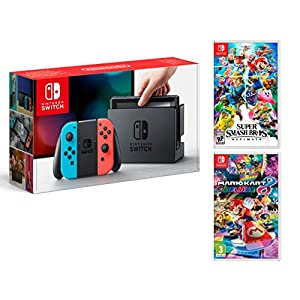 Nintendo Switch 32Gb Neon-Rot/Neon-Blau + Super Smash Bros: Ultimate + Mario Kart 8 Deluxe