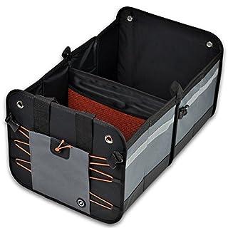 GLOBEPROOF Kofferraum-Tasche | PKW-Klapp-Box ideal als Faltbox-Einkaufskorb & Auto-Organizer | XXL & ultrastark in edlem Schwarz-Grau mit 50 Liter Volumen (32x38x60cm) (Orange)