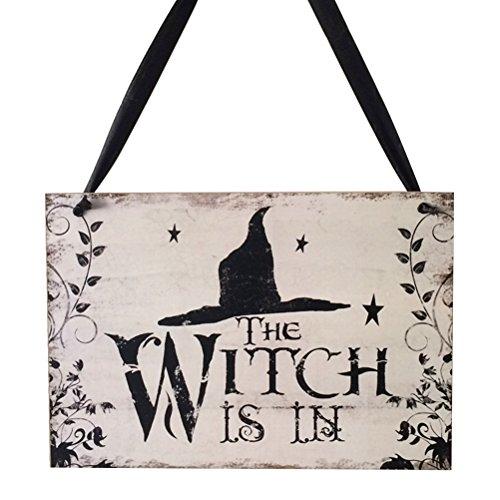 LUOEM Halloween Schild Zum Aufhängen Willkommen Schild Trick or Treat Holzschild Board für Haunted House-Hexe ist in