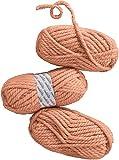 """CRELANDO® 3x Strickgarn """"Manuela"""" à 100g, besonders voluminöses Schnellstrickgarn (apricot)"""