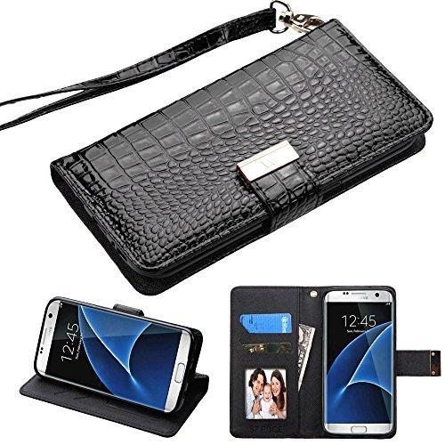 Fall + Wrap + Gap PU Leder Portemonnaie Kupplung Passt Samsung Galaxy S7MYBAT Schwarz Crocodile-Embossed MyJacket Wallet -
