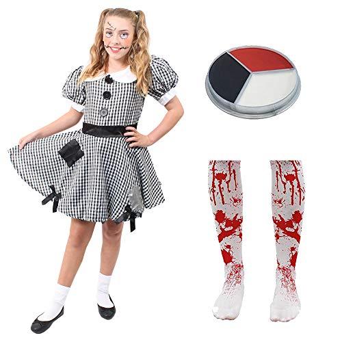 Mädchen Doll Kostüm Rag - ILOVEFANCYDRESS Kinder Flicken Kleid KOSTÜM VERKLEIDUNG Puppen MIT SCHMINKE =RAG-DOLL/Stoff =Fasching Karneval Halloween Themen Party =MÄDCHEN=XLarge