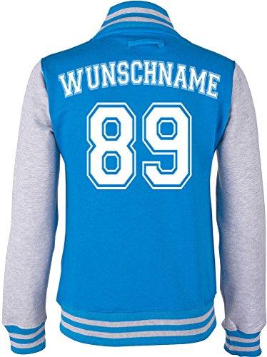 EZYshirt® Wunschnamen und Wunschnummer | Varsity | Pärchen Damen College Jacke Damen/Blau/Grau/Weiss