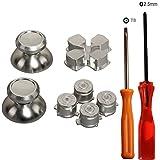 eJiasu Metall Aluminium Bullet Knöpfe + Kreuzschlüssel ABXY Knöpfe + Thumbsticks Daumengriff Chrom D-Pad Button Set für PS4 DualShock 4 Controller(Ein Set Silber)