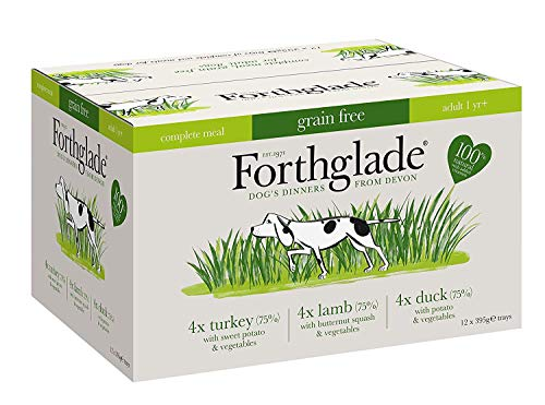 Forthglade 100% Natural Grain Free pasto Completo Carne Selezione Dog Pet Food Multi-Pack 395 g (Confezione da 12)