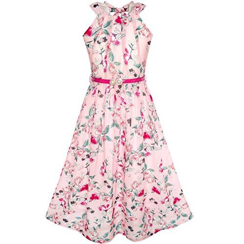 Sunboree Mädchen Kleid Rosa Blumen- Rot Gürtel Chiffon Maxi Kleiden Gr. 146 - Kleid Chiffon Mädchen Bodenlangen