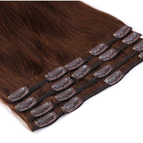 "13"" 16"" 18"" 20"" 22"" Extension Capelli Veri Clip 8 Piece Remy Human Hair Parrucca Testa Piena Vari Colori"
