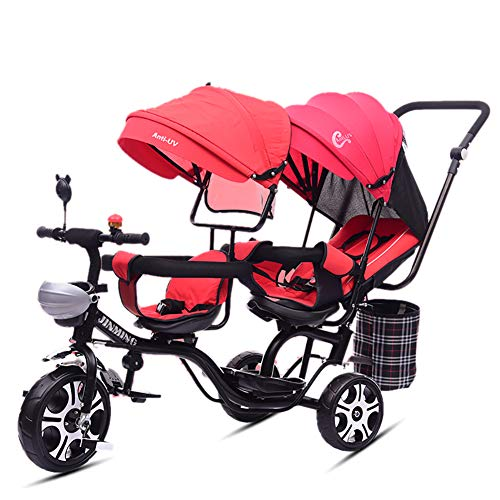 Cochecito de bebé, GUO@ Carrito Doble para niños con Triciclo Doble Doble Asiento Giratorio reclinable...