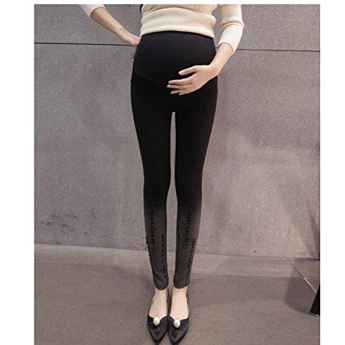 Zhhlinyuan Fashion Maternité Winter Plus Velvet Pencil Pants Trousers Pregnancy Pants Leggings Black