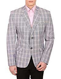 Wintage Men's Cotton Checkered All Season Notched Lapel Blue Blazer