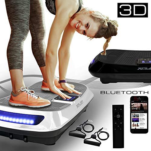 XPLON 3D VX5 Vibrationsplatte Vibration Platte inkl. Zugbänder Trainingsbänder Fernbedienung 60 Stuffen Bluetooth Musik LED schwarz/Weiss