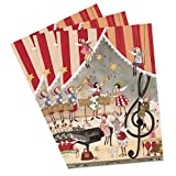 3er Set Weihnachtskarten Weihnachtskonzert, lustig mit Engeln und Hund, witzig, Nostalgie, retro, nostalgisch, winterlich, klein, mit passendem Umschlag, Klappkarte, DIN A6