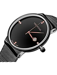 Vemupohal Men's Waterproof Date Calendar Simple Business Casual Analog Quartz Dress Wrist Watch with Black Stainless Steel Mesh Bracelet (Black)