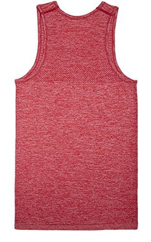 KomPrexx Uomo Sportive Canotte Palestra Muscolo Formazione Veste Fashion Workout Vest Tank Top Rosso