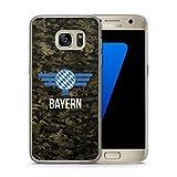 Bayern Camouflage mit Schriftzug - Handy Hülle für Samsung Galaxy S7 - Hard Case Cover Schutzhülle - Bedruckte München Flagge Flag Military Bavaria Militär