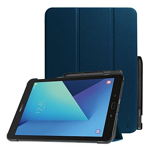 Fintie Hülle für Samsung Galaxy Tab S3 T820 / T825 (9,68 Zoll) Tablet-PC - Ultra Schlank Ständer Schutzhülle Cover Case mit Auto Schlaf/Wach Funktion und eingebautem S Pen Halter, Marineblau (Galaxy Case Clip-on Für S3)