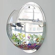 Montado en la pared de acrílico Fish Bowl Creative suspensión tanque transparente burbuja acuario planta de la casa de decoración