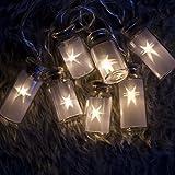 Lichterkett Retro Einmachglas LED Feenlichter Warmes Weiß 16 Lichter Konstant, Batteriebetrieben An/Aus/ Timer Modus - Milchglas Glasflasche mit Stern