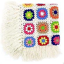 Flor hecha a mano ganchillo flecos borla de manta, toalla de alfombra de punto,