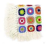 Flor hecha a mano ganchillo flecos borla de manta, toalla de alfombra de punto, sofá, sofá cojín, flores alfombrillas, lana, 120x60 cm