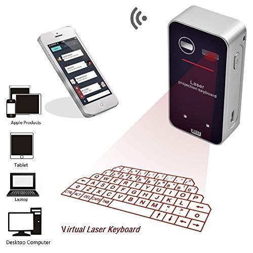RDJM Wireless Laser Tastatur, Virtual Projektion Bluetooth Wireless Tastatur für iPad iPhone Android Smart Phones PC Notebook -