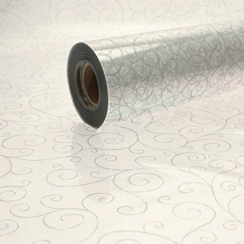 40 Metros x 80cm Plateado Rollo Celofán - Espirales Impreso - Lámina Transparente Regalo Rollo Papel Envolver