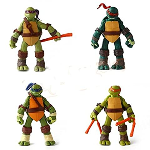 Les Tortues Ninja - Teenage Mutant Ninja Turtles, Pack de 4 figurines articulées, 12 cm