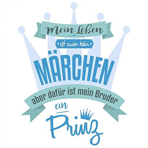 Fashionalarm Herren T-Shirt - Mein Leben ist kein Märchen aber mein Bruder ein Prinz   Fun Shirt mit Spruch als Geburtstag Geschenk Idee Geschwister Weiß