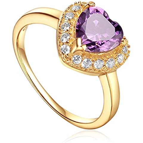 starharvest donne gioielleria anello in argento 925con AAA Cubic Zircon pietra viola placcato in oro 18K, Cuore Promessa Anello Fidanzamento Matrimonio Anelli