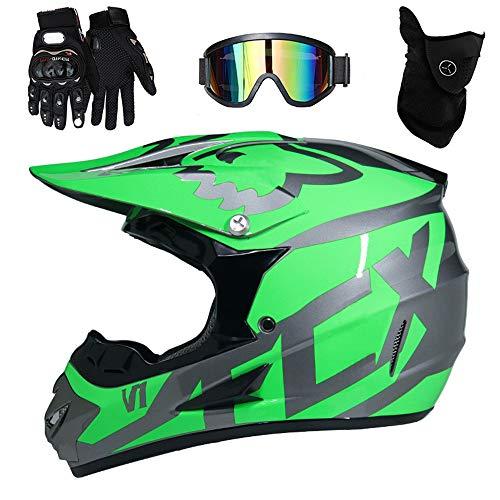 PKFG® AO-340 Full face Motocross Helm, Adult Helm Sport Adventure Enduro Motorradhelme Motocross Schutzhelm Unisex MTB Schutz Sicherheit Helm mit Handschuhe Maske Brille,M54~55CM - Mädchen Motocross Handschuhe