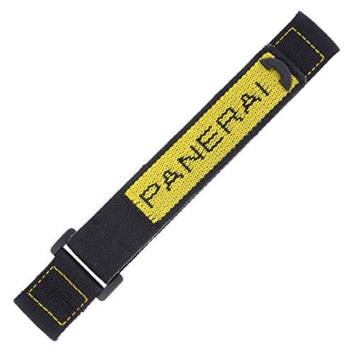 Officine Panerai 24mm schwarz & gelb Klettverschluss Herren-Armbanduhr Band