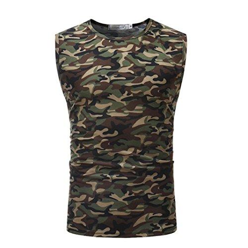 Hmeng Männer T-Shirt Camouflage-Druck mit Rundhalsausschnitt ❤️Herren ComfortSoft T-Shirt Bleib verstopft Rundhalsausschnitt O Neck Pullover Klassisches Jersey T-Shirt M/L/XL/XXL/XXXL (Kaffee, 2XL)