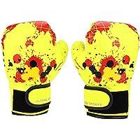 Alomejor Guantes de Boxeo PU Cuero Niños Guantes de Boxeo Entrenamiento con sacabocados Kids Fight Mitts para niños Entrenamiento de Boxeo para niños(Yellow)