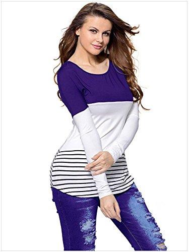 PU&PU Damen Streifen Langarmshirts Kontrast Farbe Rundhals Ausschnitt mit Spitze Oberteile Bluse L-1