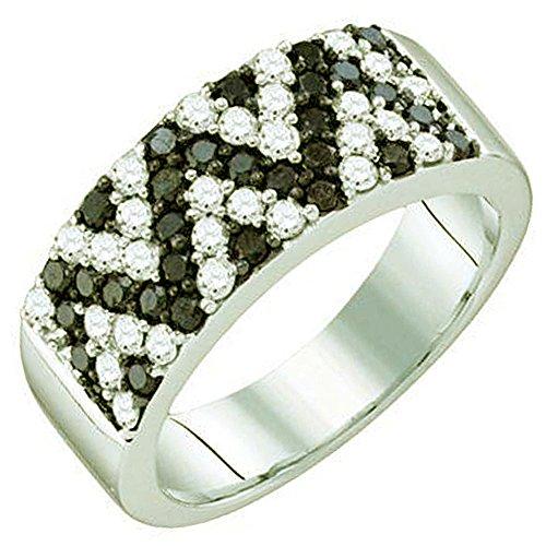 1.04Karat (ctw) 10K Weiß Gold Rund Schwarz & Weiß Diamant Damen Rechte Hand Fashion Band (10k Weißes Gold Schwarzer Diamant Ring)