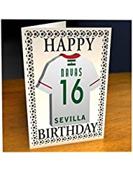 Equipos de la liga de campeones de la UEFA–Camiseta de fútbol para tarjetas de cumpleaños–cualquier nombre, cualquier número, cualquier equipo., hombre mujer Infantil, Sevilla FC Football Team