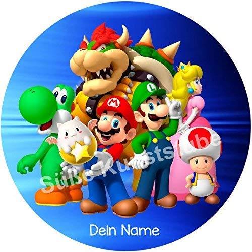 Tortenaufleger Super Mario3 mit Wunschtext / 20 cm Ø