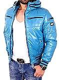 Reslad Herren Jacke Nylon Glanz Winterjacke mit Verstaubarer Kapuze RS-23 Blau M