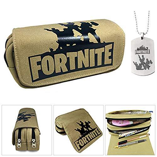 Fortnite Trousse, grande capacité papeterie crayon pochette sac affaire toile organiseur cosmétique avec deux grandes poches pour les garçons, filles,...