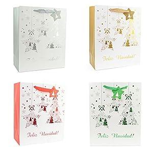 Gifts 4 All Occasions Limited SHATCHI-577 - Lote de 4 bolsas de regalo de Navidad con purpurina y etiqueta reciclable, multicolor