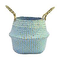 XIYAO Plant Flowers Pot Seagrass Basket Flowerpot Folding Dirty Basket Storage for Home Decoration