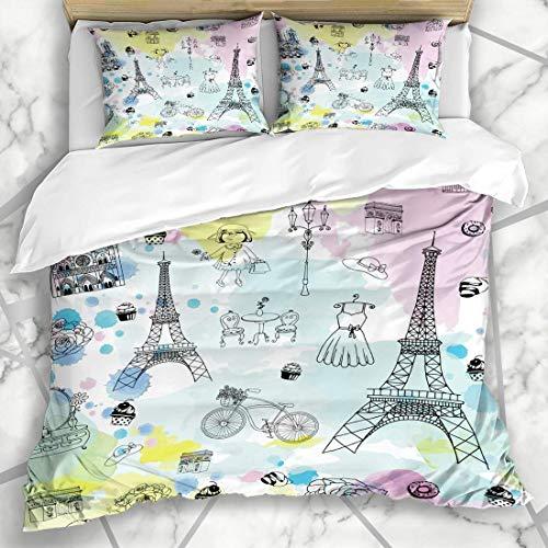 Soefipok Bettbezug-Sets Make-up Rosa Skizze Paris Glamour Pattern Parfüm Parks Hand Aquarell Pinsel Niedliche Zeichnung Eiffel Mikrofaser Bettwäsche mit 2 Pillow Shams Park-designs, Eisen