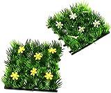 com-four® 2 Kunstrasenmatten mit Blumen zur Dekoration für den Frühling oder Ostern (02 Stück - 13 cm x 13 cm)