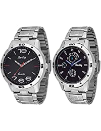 Trendy Silver Stainless Steel Strap Watch, Round Black Dial Analog Watch For Men's/Boys Casual/Formal Wear Watch...