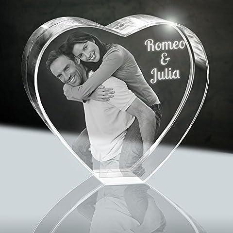 Glasherz mit Wunschfoto   Herz 80mm 2D Gravur von deinem Foto   Kristall Fotogeschenk zum Jahrestag