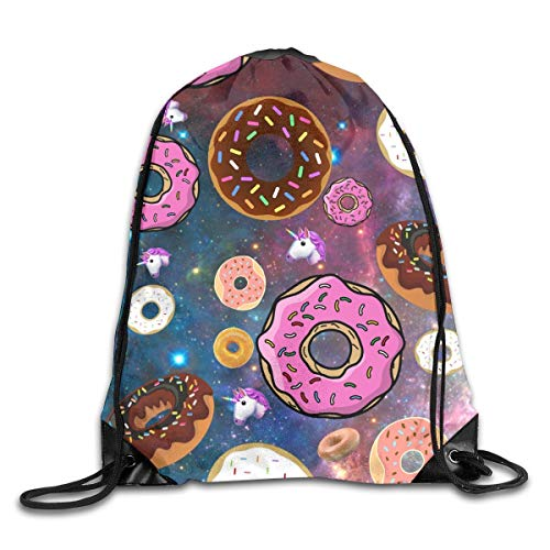 f32cb7f808 Unicorn and Donut Drawstring Backpack Bags Rucksack Shoulder Bags Sackpack  Sport Gym Bag Yoga Runner Beach