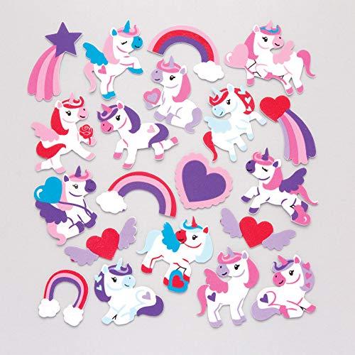 Baker Ross Pegatinas de Unicornios amorosos de Espuma (Paquete de 120) para Decorar Manualidades Infantiles para el Día de la Madre y San Valentín