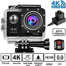 Sports Action Camera 4K, Action Cam WiFi, Ultra Full HD 16MP/12MP Wasserdicht 30 M, 2.4 G kabellose Fernbedienung,170 Grad Weitwinkel Objektiv Action Cam - Schwarz