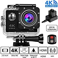 FJOY 4K Sport Action Camera 16MP WiFi Waterproof Sports Cam 100ft Diving Underwater Camera with 170 Degree Wide Angle, Rechargeable Battery, Waterproof Case,18 Accessories Kits for Swimming Skiing Diving Surfing Bike Motorcycle etc. Black